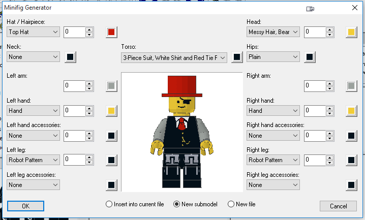 MLCad Minifig Generator